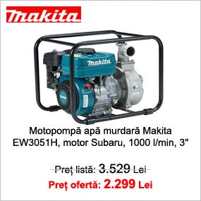 "Motopompa apa murdara Makita EW3051H, motor Subaru 5.7 CP, benzina, 1000 l/min, 3"""