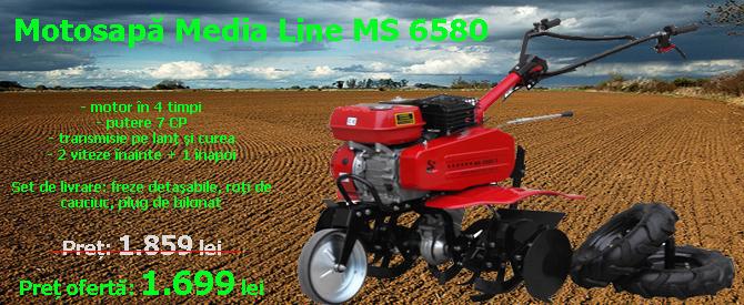 Motosapa Media Line MS 6580/4, motor benzina 7 CP + roti cauciuc + plug bilonat