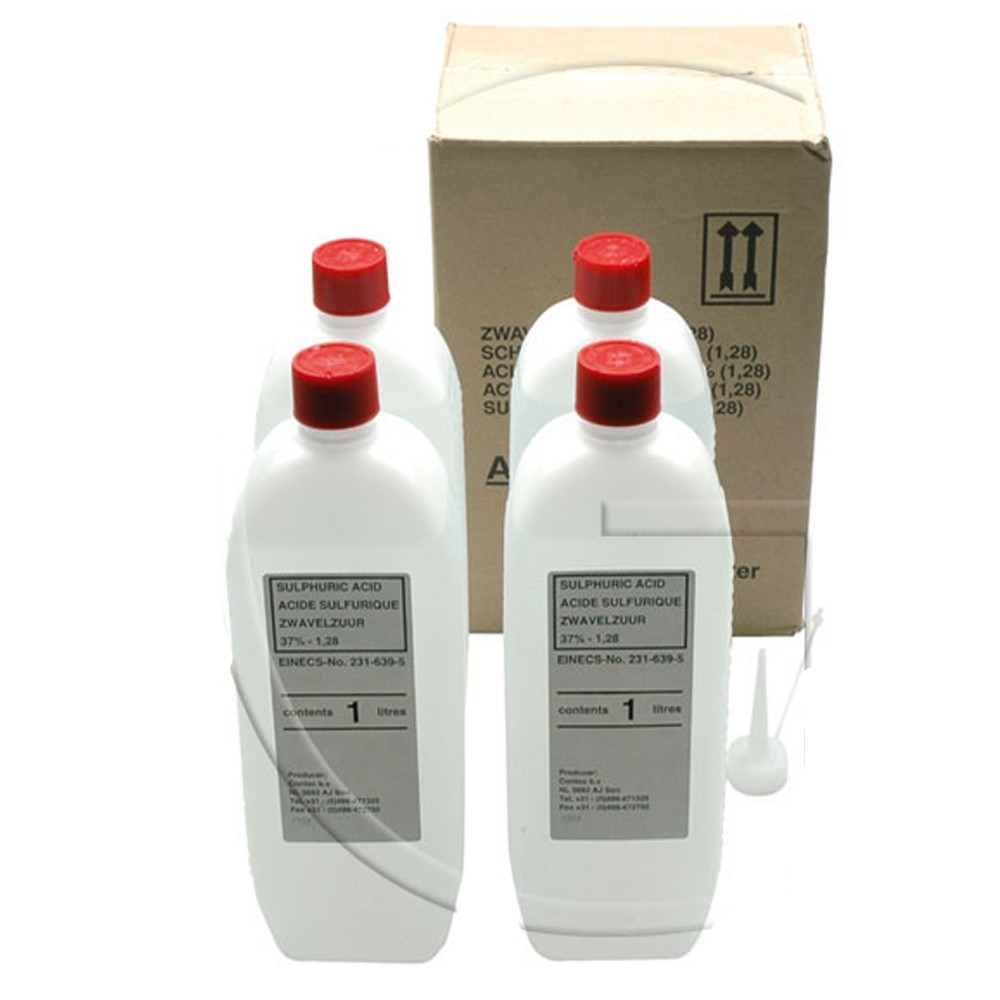 Butelii de acid sulfuric pentru baterii, 4 x 1 L