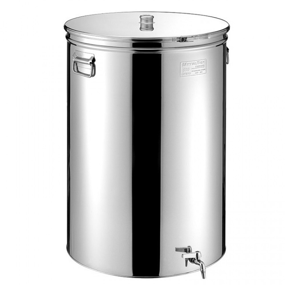 Cisterna inox MetalBox 38A-75, 75 L, capac antipraf, manere laterale, robinet 1/2""