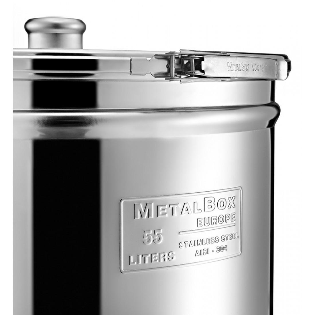 "Cisterna inox MetalBox 220 L, capac antipraf, colier de strangere, manere laterale si robinet 1/2"""