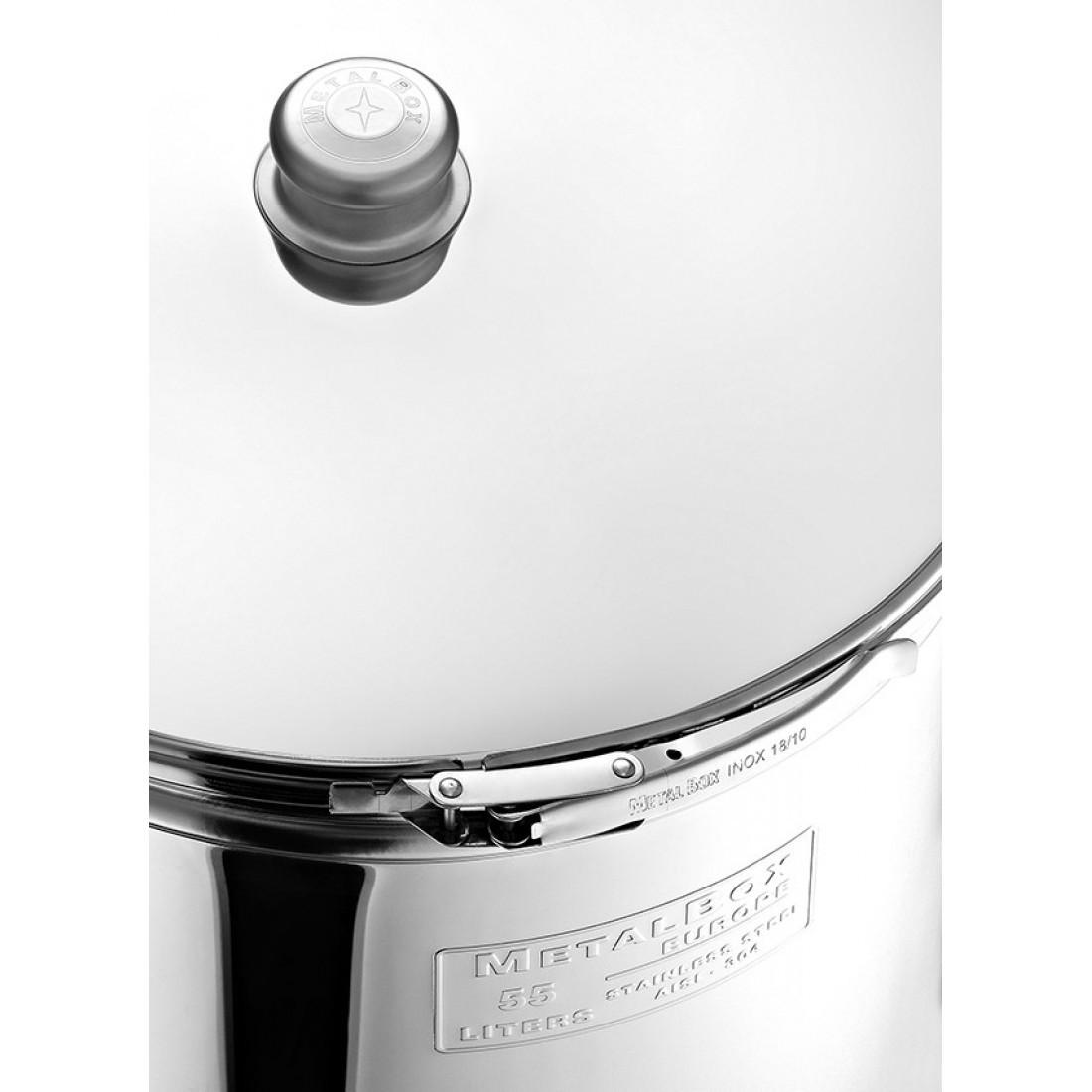 "Cisterna inox MetalBox 52A-135, 135 L, capac antipraf, manere laterale, robinet 1/2"""