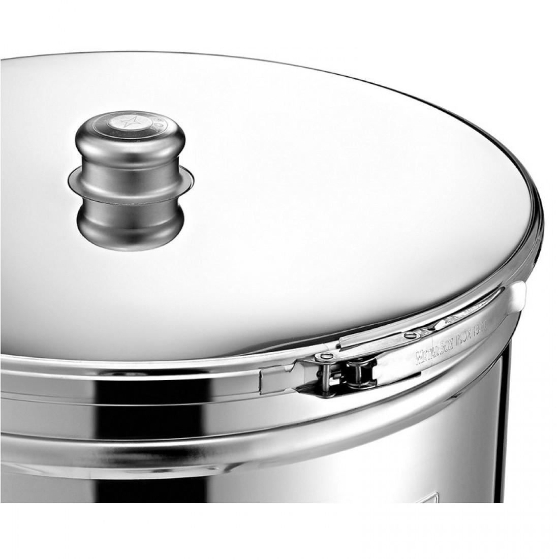 "Cisterna inox MetalBox 63A-300, 300 L, capac antipraf, manere laterale, robinet 1/2"""