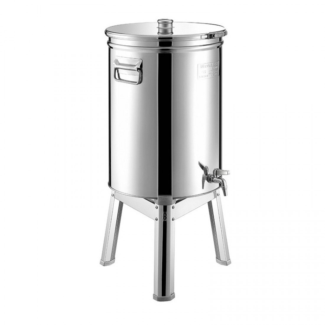 "Cisterna inox MetalBox 250 L, capac antipraf, colier de strangere, manere laterale si robinet 1/2"""
