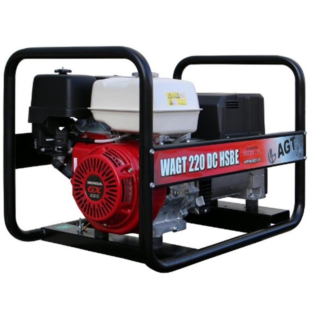 Generator de sudura AGT WAGT 220 DC HSBE, 6.5 kVA, trifazat, benzina, max. 220 A, pornire electrica