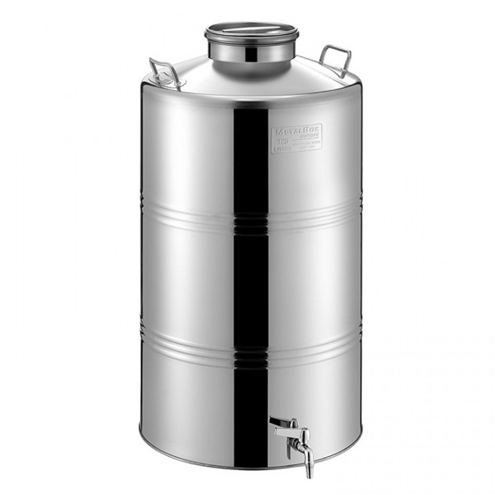 "Bidon inox MetalBox 46B180-75, 75 L, capac de siguranta Airtight, robinet 1/2"""