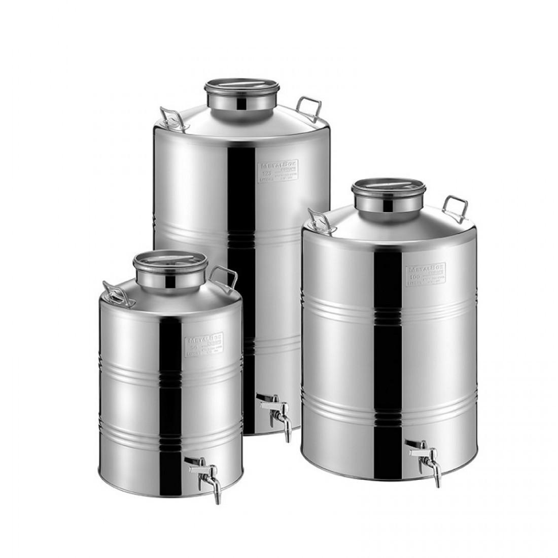"Bidon inox MetalBox 125 L, capac de siguranta Airtight, robinet 1/2"""