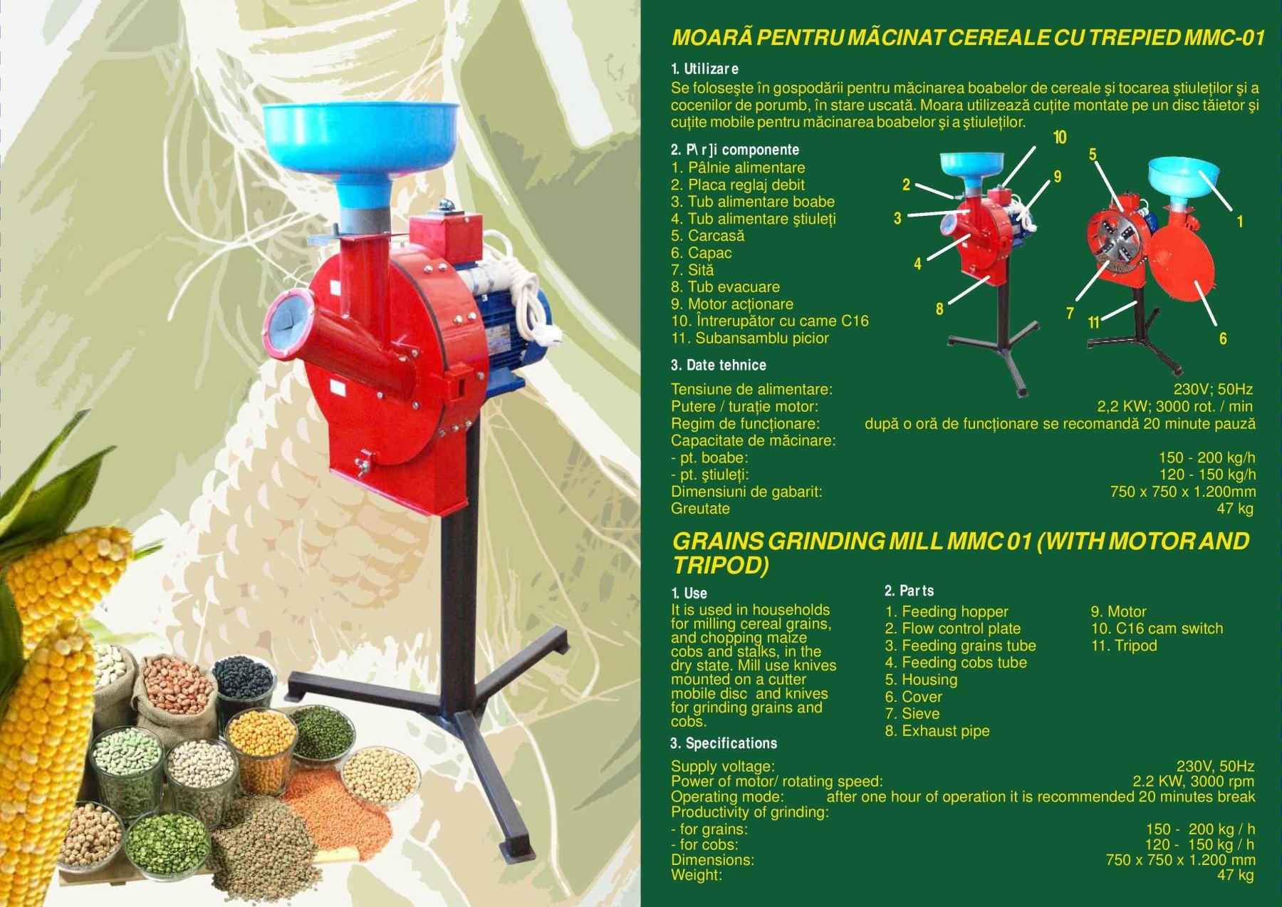 Moara de macinat cereale MMC-01, 2200 W, 120-200 kg/h, cu trepied
