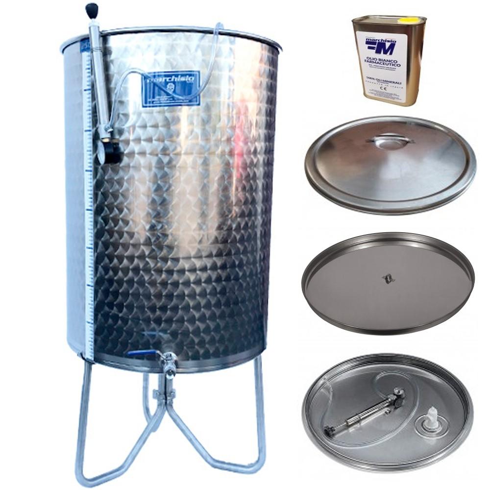 Pachet Cisterna inox pentru fermentare / depozitare Marchisio 200 litri, 650x650 mm + trepied, parafina