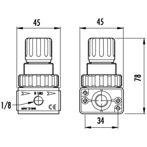"Regulator de presiune cu manometru GAV R-180, 1/4"", 0-10 bar"
