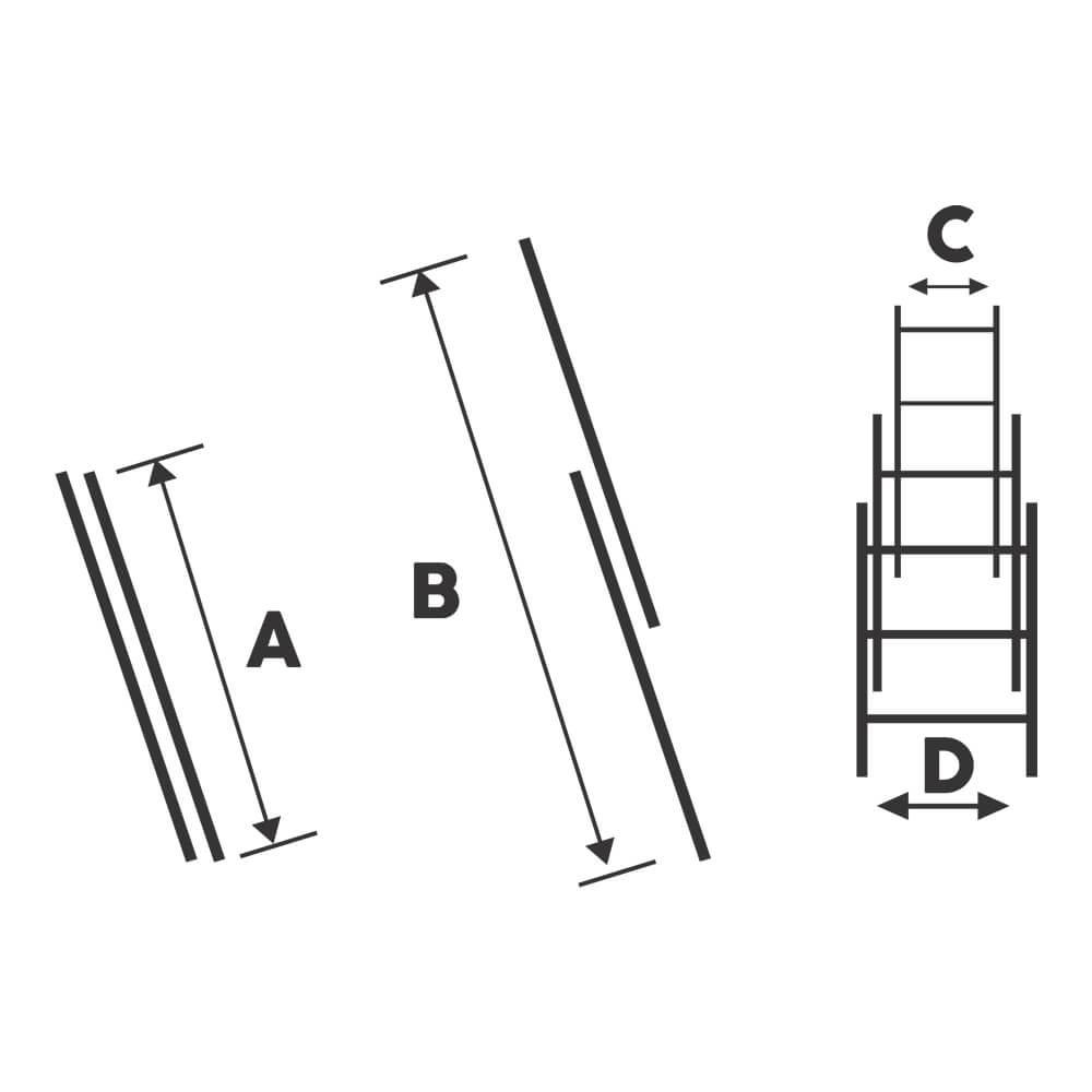 Scara dubla aluminiu Bisonte STR209, 2x9 trepte, Hmax. 4.25 m