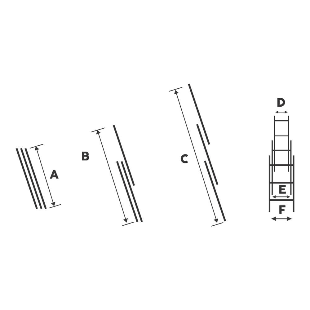 Scara tripla aluminiu Bisonte STR311, 11 trepte, Hmax. 7.5 m