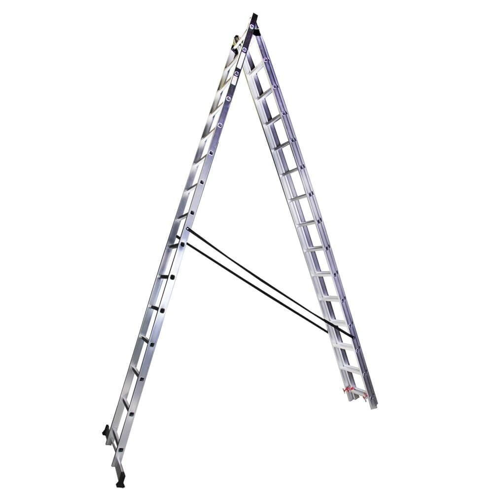 Scara tripla aluminiu Bisonte STR315, 15 trepte, Hmax. 10.9 m