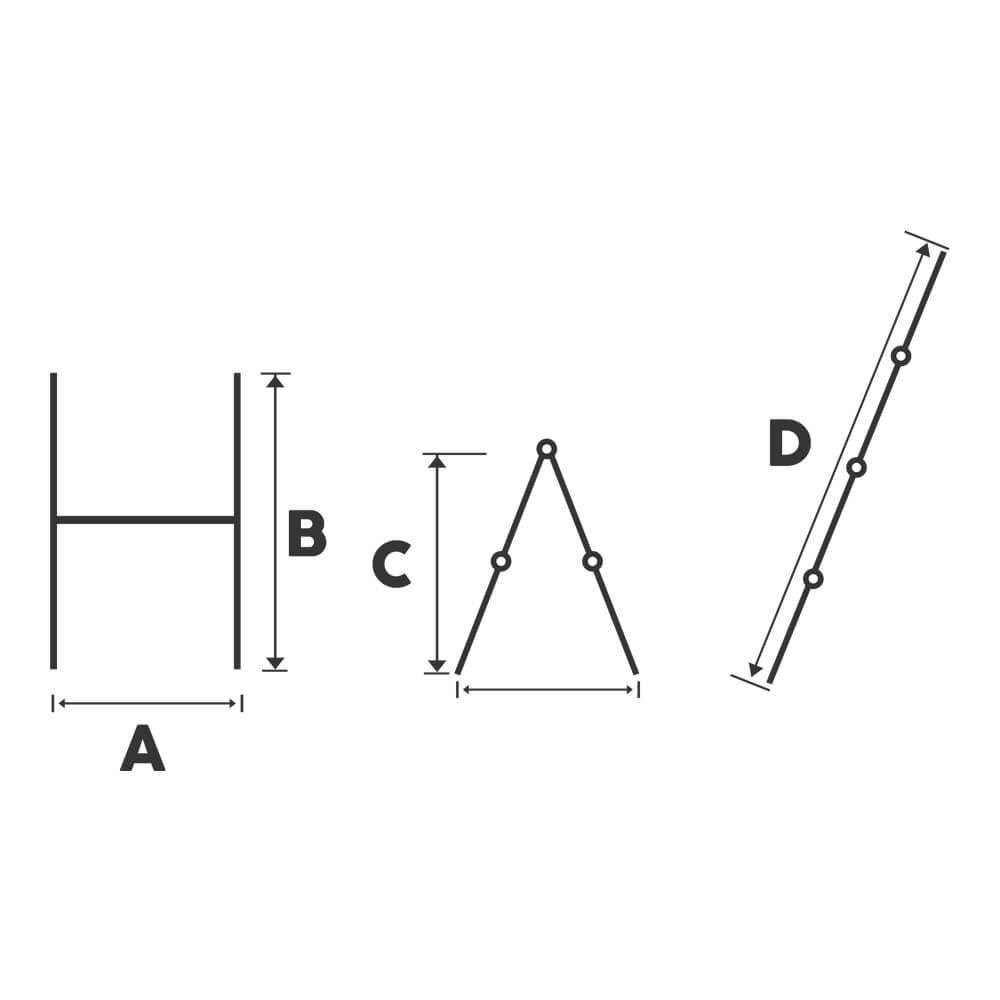 Schela cu scara dubla aluminiu Bisonte STR0505, H1.4 m, L1.6 m