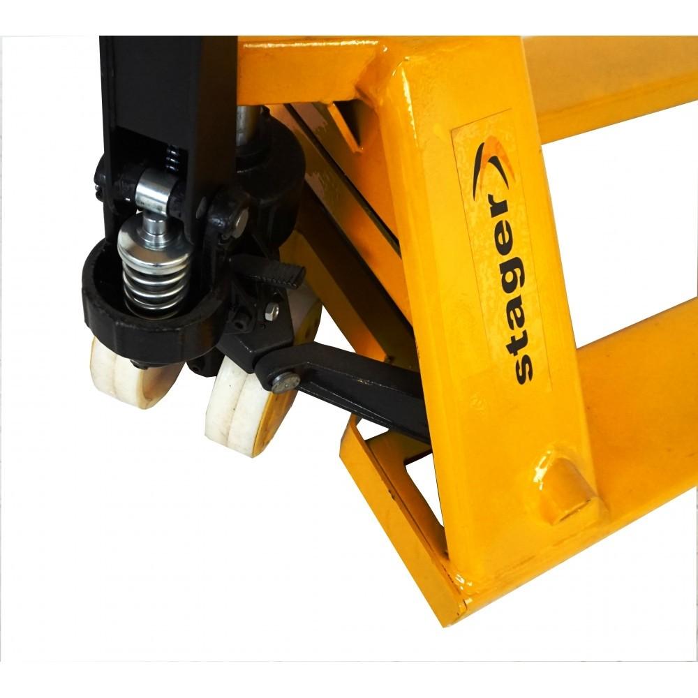 Transpalet manual STAGER HPT25T/550, 2500 kg, 550 x 1150 mm, roti nylon