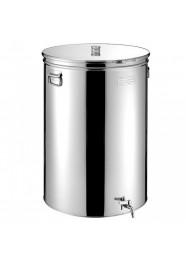 "Cisterna inox MetalBox 75 L, capac antipraf, colier de strangere, manere laterale si robinet 1/2"""