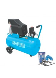 Compresor de aer Airmaster AIR2SHU850-KIT-AIR3, 230 V, 1.5 kW, 206 l/min, 8 bar, 50 L + Kit 3 accesorii