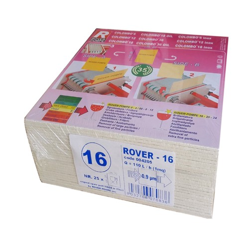 Set 25 placi filtrante 20x20 cm - ROVER 16