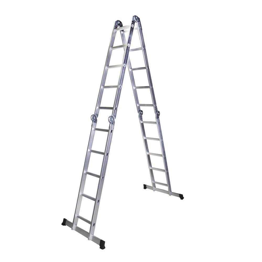Scara multifunctionala din aluminiu Bisonte STR405, 4 segmente x 5 trepte, 5.8 m