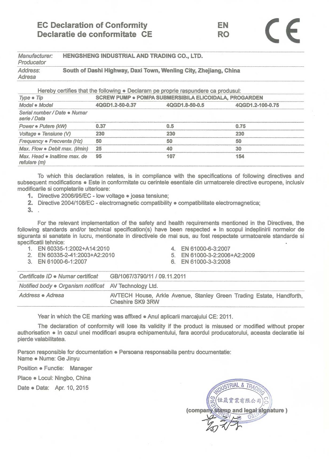 ProGARDEN 4QGD1.8-50-0.5 - Declaratie de conformitate